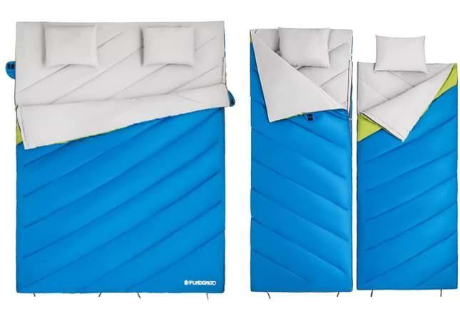 sac de couchage duvet 2 en 1 avec oreillers